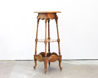 French Walnut Carved Three Tiered Stand