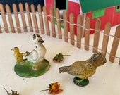2 miniature lead putz farm toys Britains duck and duckling chicken unmarked collectible toys animals from MilkweedVintageHome