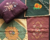 10 unmatched vintage handmade needlepoint seat covers or pillow tops floral designs for projects home decor from MilkweedVintageHome