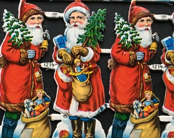 Vintage Sheet Of 16 Scrap Die Cut SantasFather Christmas PZB Germany 45 Pieces Crafts Projects From MilkweedVintageHome