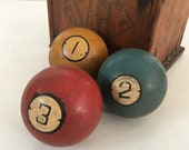 3 antique billiard pool balls Brunswick Balke Ivorylene Dart vintage early 1900s sports decor props MilkweedVintageHome