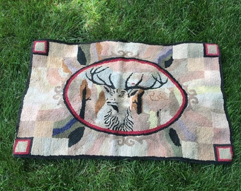 "Antique hand made hooked throw rug~stag deer design~ vintage late 1800s-1910s~37"" X 24"" Americana farmhouse decor from MilkweedVintageHome"