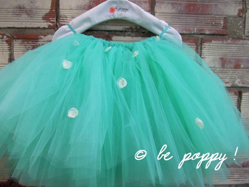 Short to Tea Length GREEN MINT FLOWER Tutu skirt skirt 8 image 0