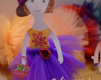 Free Shipping CUT off paper DOLL with custom made tutu skirts -  creative kit - Waldorf DOLL tutu skirt any color - wedding animation