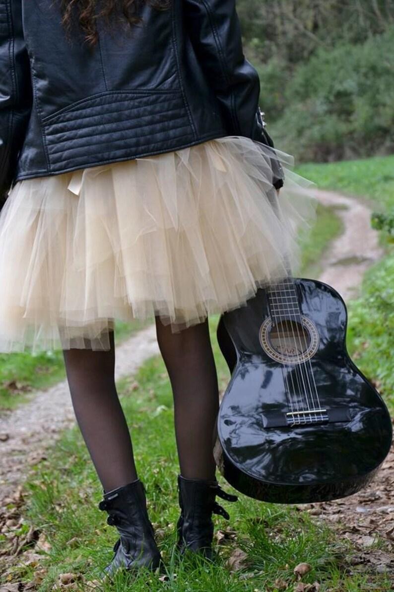 SHORT BEIGE TUTU skirt  Tea lenght Champagne tulle skirt  8 image 0