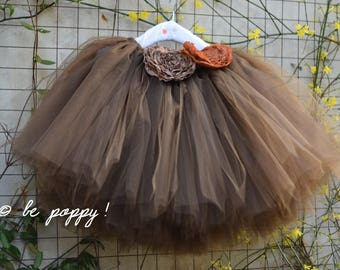 SHORT CHOCOLATE skirt - Tea lenght Brown tulle skirt - 8 layers sewn tutu - Custom - Adult tutu skirt - Girl tulle skirt- Flower girl