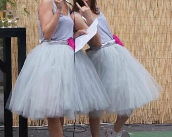SHORT GREY TUTU skirt - Tea lenght Gray woman tulle skirt - 8 layers sewn tutu - Custom - Adult tutu skirt - Girl tulle skirt - Flower girl