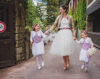 SHORT IVORY TUTU skirt - Tea lenght Yvory woman tulle skirt - 8 layers sewn tutu - Custom - Adult tutu skirt - Girl tulle skirt -Flower girl