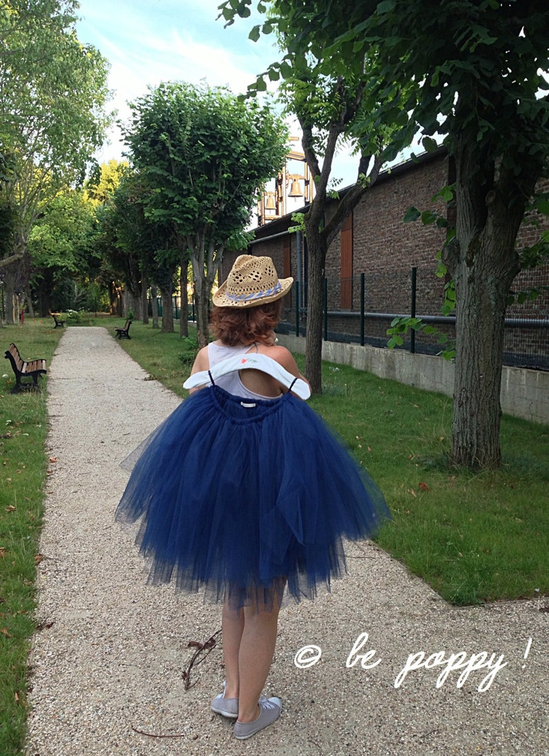 SHORT Navy BLUE TUTU skirt  Tea lenght blue tulle skirt  8 image 0