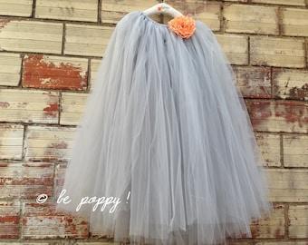 FULL LEGTH GREY tutu skirt - 8 layers sewn tutu - Custom - Gray tulle skirt - Adult tutu skirt - Girl grey tulle skirt - Flower girl tutu