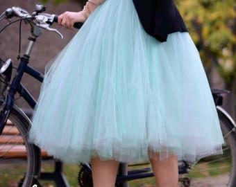Bi-color SJP TUTU tutu skirt 8 layers sewn tutu - Custom made tulle skirt - mint and grey Sex and the city tulle skirt - adult tutu