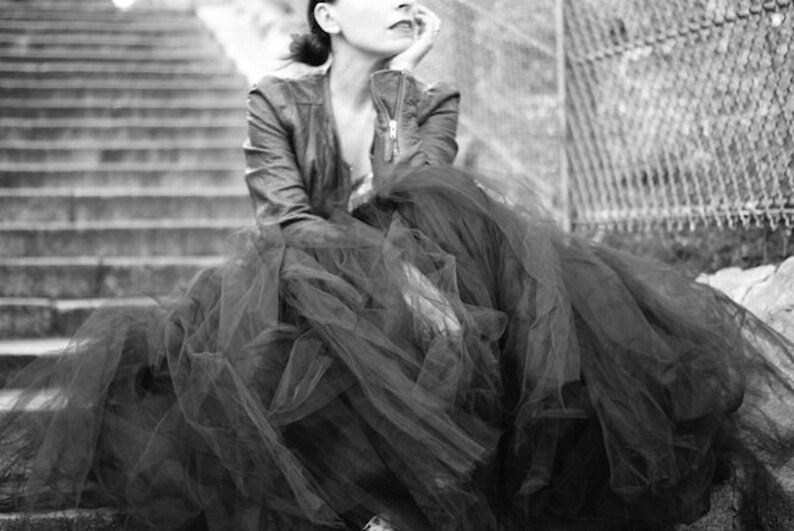 FULL LEGTH BLACK tutu skirt  8 layers sewn tutu  Custom  image 0