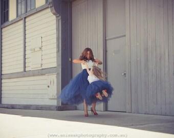 FULL Length NAVY BLUE tutu skirt - 8 layers sewn tutu - Custom Blue tulle skirt - Adult tutu skirt - Girl blue tulle skirt- Flower girl tutu