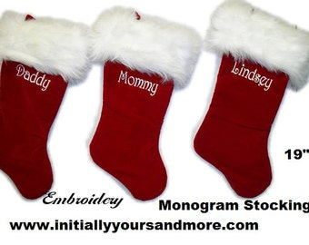 personalized monogram red plush christmas stockings