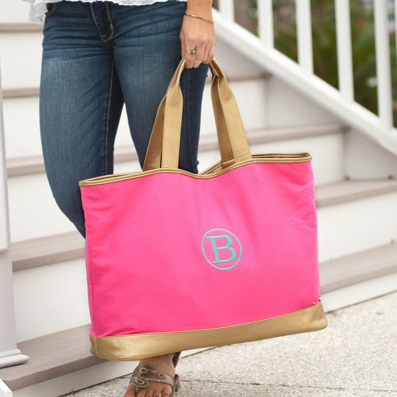 Monogram Cabana Tote Includes monogram Available in Navy image 0