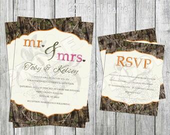 Camo wedding etsy mr mrs camo wedding invitation and rsvp card solutioingenieria Image collections