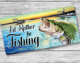 FISH FISHING ON FISHING Metal License Plate Frame Tag Holder