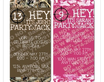 Pink Camo Invitation Etsy