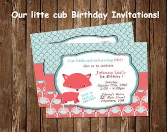 Fox Birthday Invitation, Our Little Cub Birthday Invitations, Coral and Teal