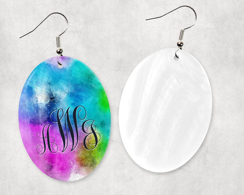 Natural Shell Monogrammed Earrings and or Necklace Matching monogrammed Jewelry Necklace with 18in Silver Plated Chain Mother of Pearl