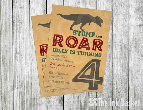 Jurassic Work Invitation Dinosaur Birthday Invitations Stomp