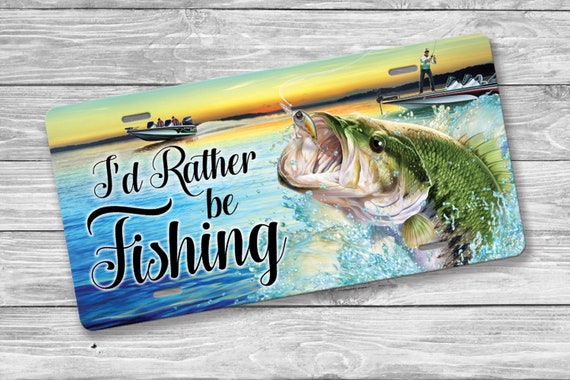 RATHER BE FISHING FISH Metal License Plate Frame Tag Holder