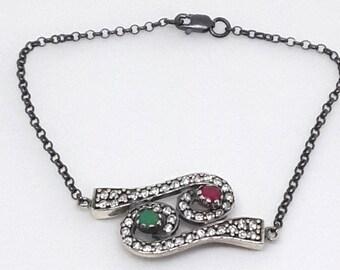 Black Silver Bracelet, Emerald Bracelet, Zircon Bracelet, Ruby Bracelet
