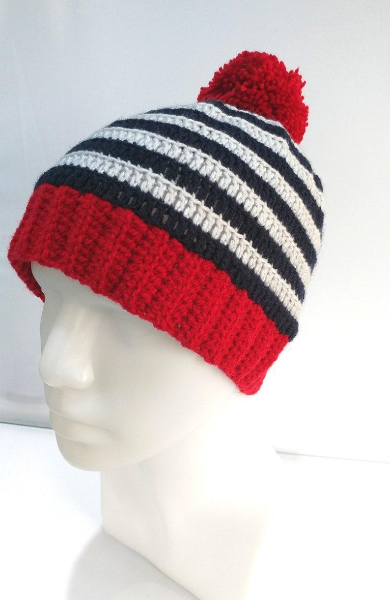 91be6096045 Crochet Hat Winter Hat Mix Color Red Pom Crochet Hook Wool