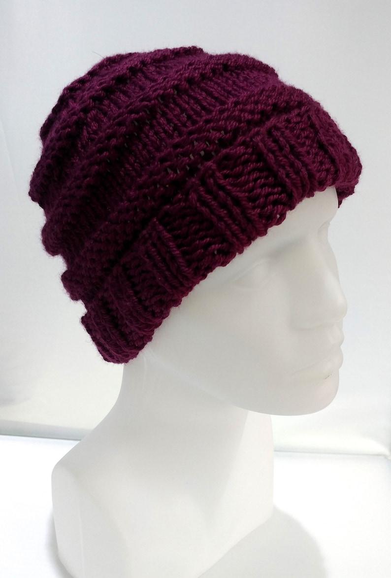 43a6ce87bab Crochet Hat Winter Hat Dark Red Color Wool Yarn Gift