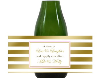 20  mini Wine or Champagne Labels, blush pink & gold for wedding welcome bag, hotel hospitality gift bag, out of town guests, wedding favors