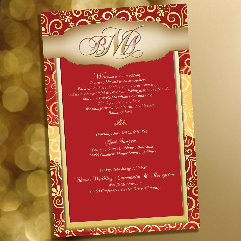 20 Indian wedding stationary Hindi wedding welcome note | Etsy