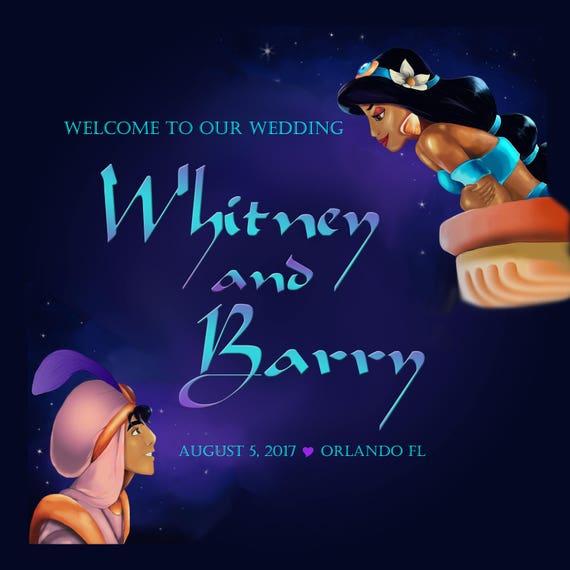 "Personalised Disney Inspired /""ALADDIN /& JASMINE/"" Printed Wedding Day Card"