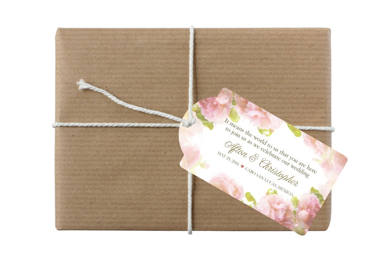 out of town guests goodie bags hotel hospitality bags 20 Soft Rose /& Gold Adhesive Labels for Wedding Welcome Bags destination weddings