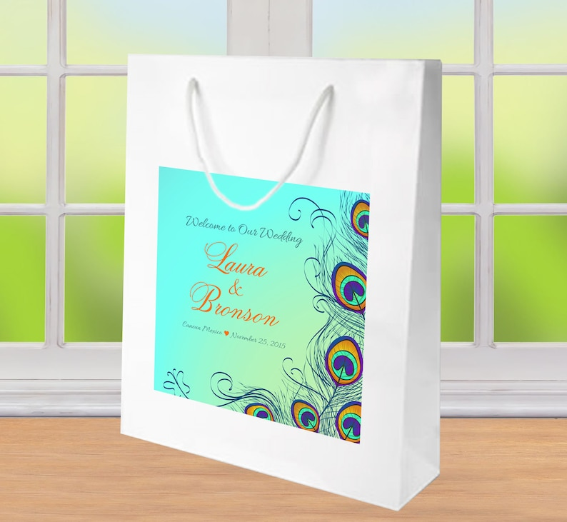 10 Custom Peacock Wedding Welcome Bags Hotel Guest Gift Bags Etsy