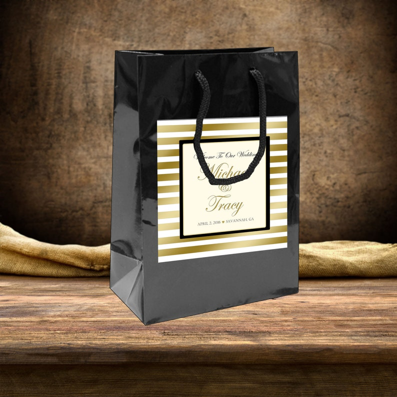 hotel guests hospitality bags 20 Wedding Welcome Bag labels Gold Stripe with Blush Pink Accents for wedding favors goody bags