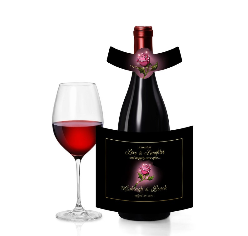 Welcome Bags wedding favor or goody bags 20 Disney/'s Beauty /& The Beast Rose Wine Bottle Labels for Weddings hotel hospitality gift bags