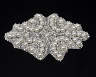 Pearl applique, Bridal applique good for  Sashes, Headpieces, DIY weddings, garter, hair clips - WAR-503