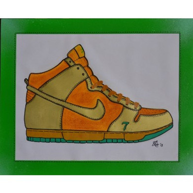 wholesale dealer e0fc6 1343d SALE Nike Sb Dunk High LUCKY 7 Mounted   Etsy