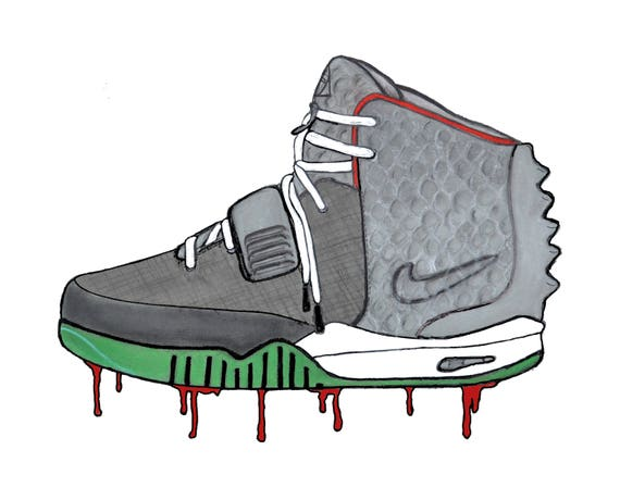 timeless design 464f6 29f2e Original WOLF GREY Street Sneaker Art Print. Nike   Etsy