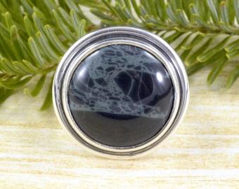 Round Spiderweb Obsidian Ring // Obsidian Jewelry // Spiderweb Obsidian Jewelry // Sterling Silver // Village Silversmith
