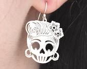Vintage Sugar Skull Dangle Earrings Sterling Silver Earrings Sterling Silver Village Silversmith