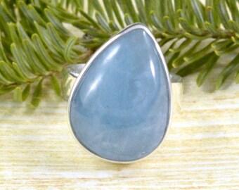 Tilted Teardrop Aquamarine Ring // Aquamarine Jewelry // Sterling Silver // Village Silversmith