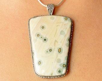 Peach & Spots Ocean Jasper Pendant // Ocean Jasper Jewelry // Sterling Silver // Village Silversmith