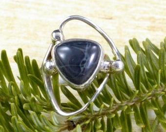 Looped Spiderweb Obsidian Ring // Obsidian Jewelry // Spiderweb Obsidian Jewelry // Sterling Silver // Village Silversmith