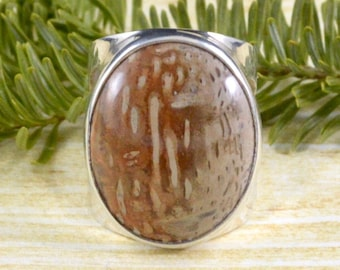 Statement Oval Petrified Sequoia Wood Ring // Petrified Wood Jewelry // Fossil Jewelry // Sterling Silver // Village Silversmith