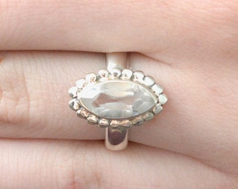 Circled Marquise Faceted Quartz Ring // Quartz Jewelry // Sterling Silver // Village Silversmith