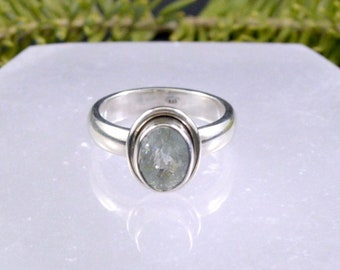 Ice Blue Faceted Aquamarine Ring // Aquamarine Jewelry // Sterling Silver // Village Silversmith