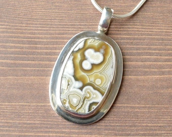 Gem Crazy Lace Agate Pendant // Agate Jewelry // Sterling Silver // Village Silversmith