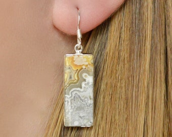 Smoky Rectangular Crazy Lace Agate Earrings // Agate Jewelry // Sterling Silver // Village Silversmith