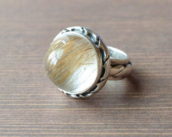 Wired Rutilated Quartz Ring  Rutilated Quartz Jewelry  Sterling Silver  Village Silversmith